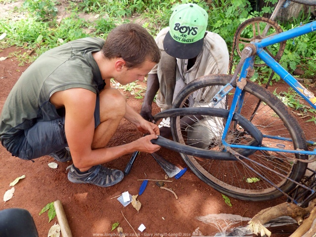 Wouter fixing a puncture