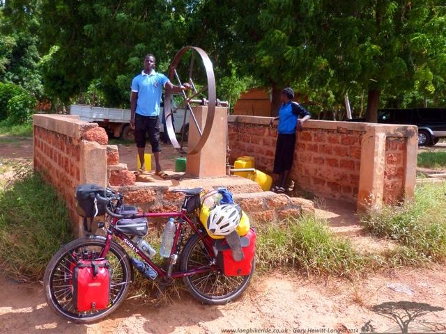 A flywheel water pump in Burkina Faso