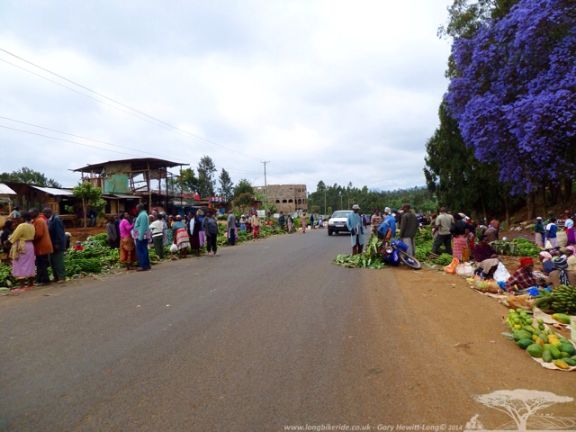 Roadside fruit sellers with lots of Bananas