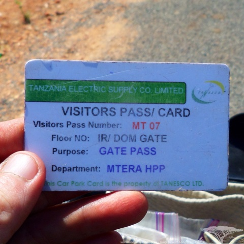 Visitors Pass for Mtera Hydroelectric Dam