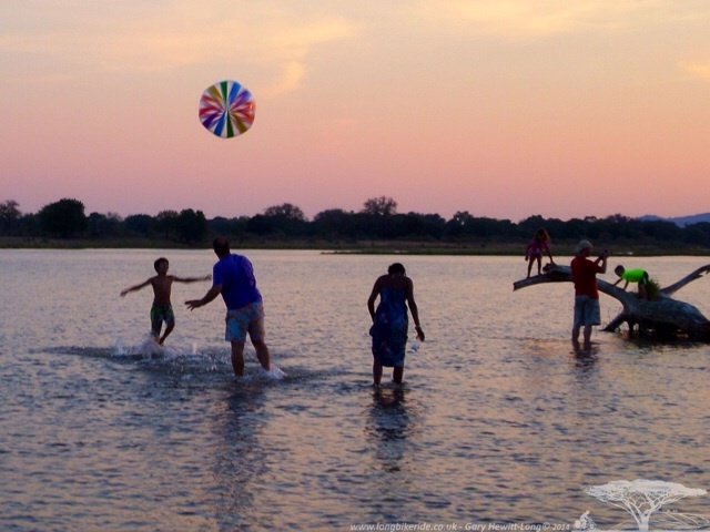 Playing on a sand bank in the middle of the Zambezi River, Zambia
