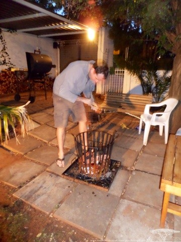 Andy firing up the....fire