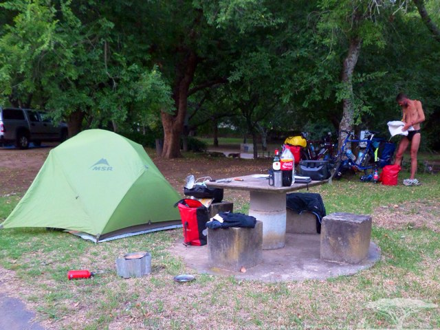Camping in Swellendam - Sorry about the half naked Dutch Man - its the only way I could get a cheap rate!