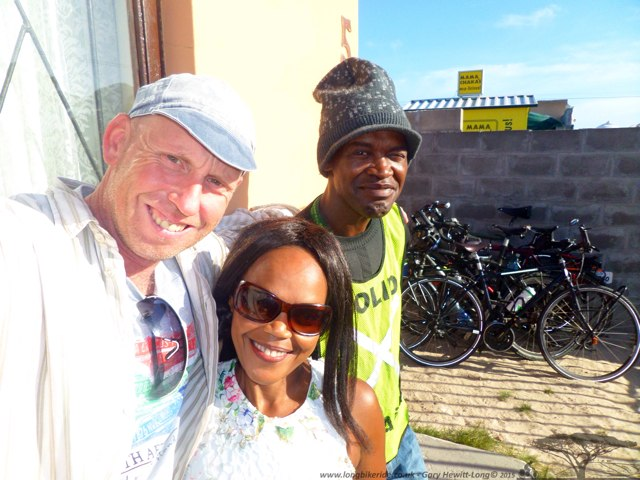Zoleka and her son who looked after our bikes in Guguletu