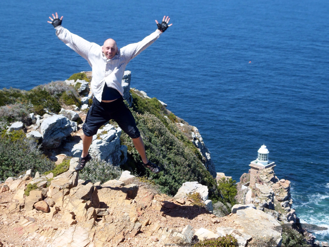 Yay - Made it to Cape Point... Celebrate by having no neck..