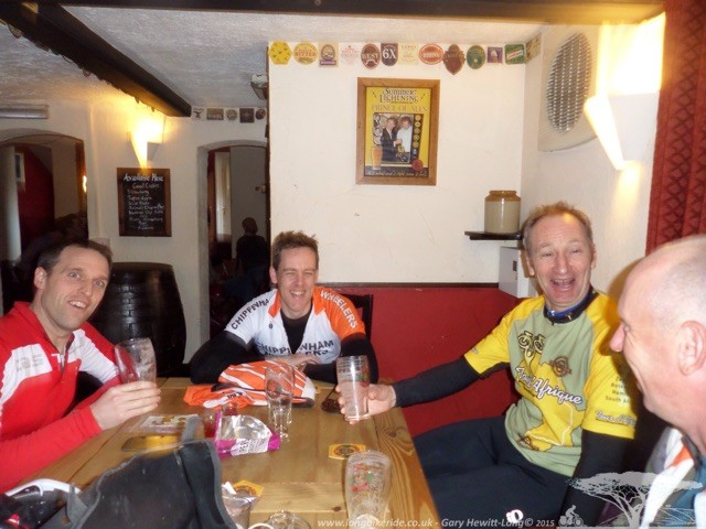 Steve, Rich, David and I from Chippenham Wheelers having a beer.